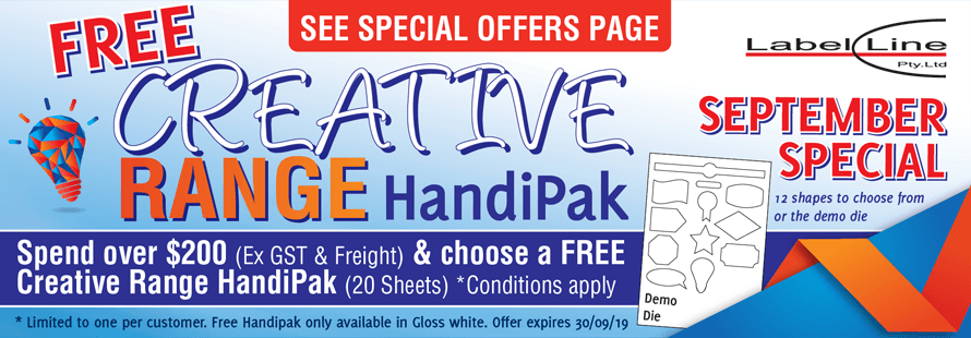 Spend over $200 and get a FREE Creative Range HandiPak of your choice!