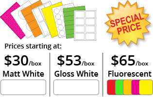 Special Price Labels. Matt and gloss white, and fluorescent colours